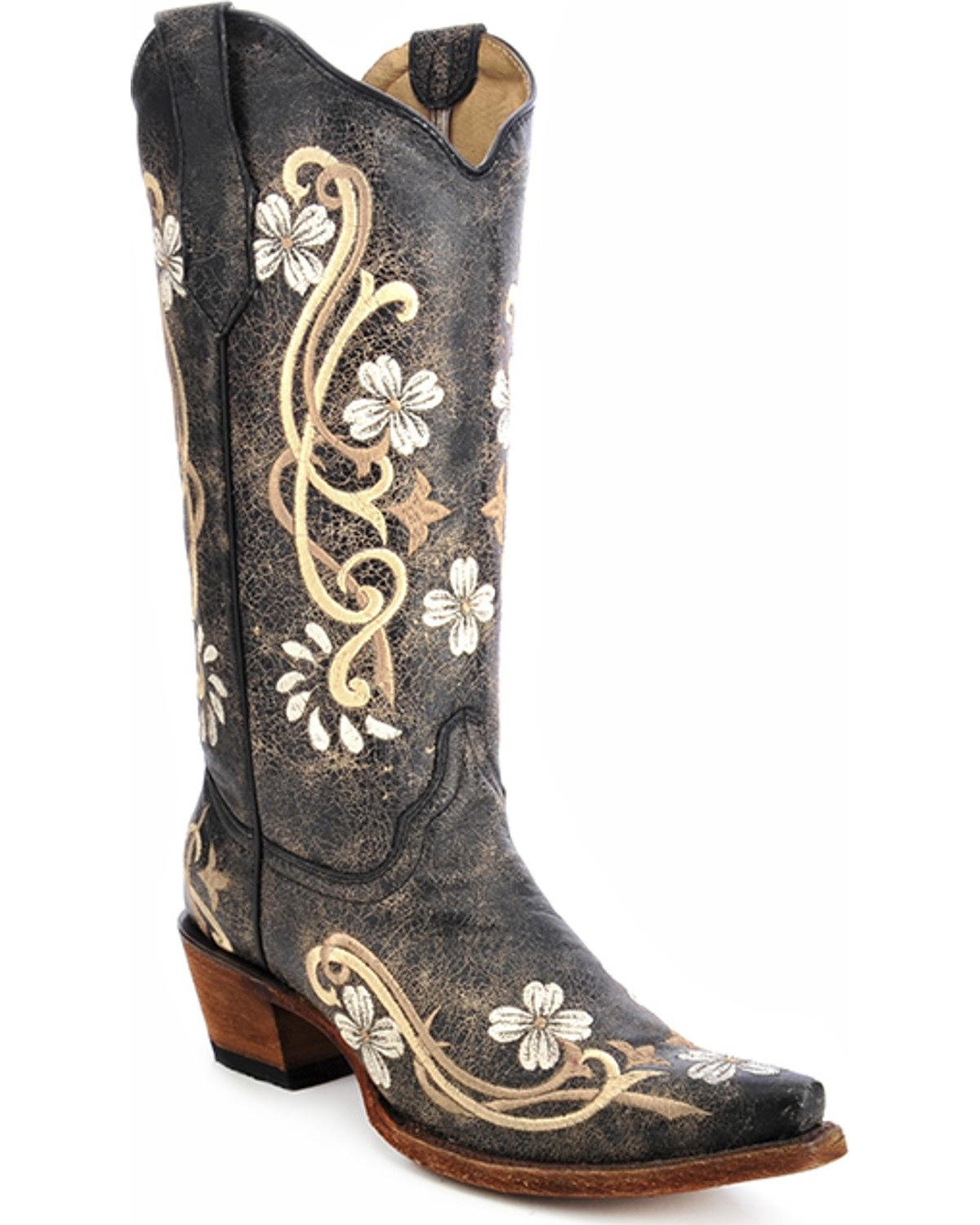 Circle G Women's Floral Embroidered Cowgirl Boot Snip Toe Black 8 M US