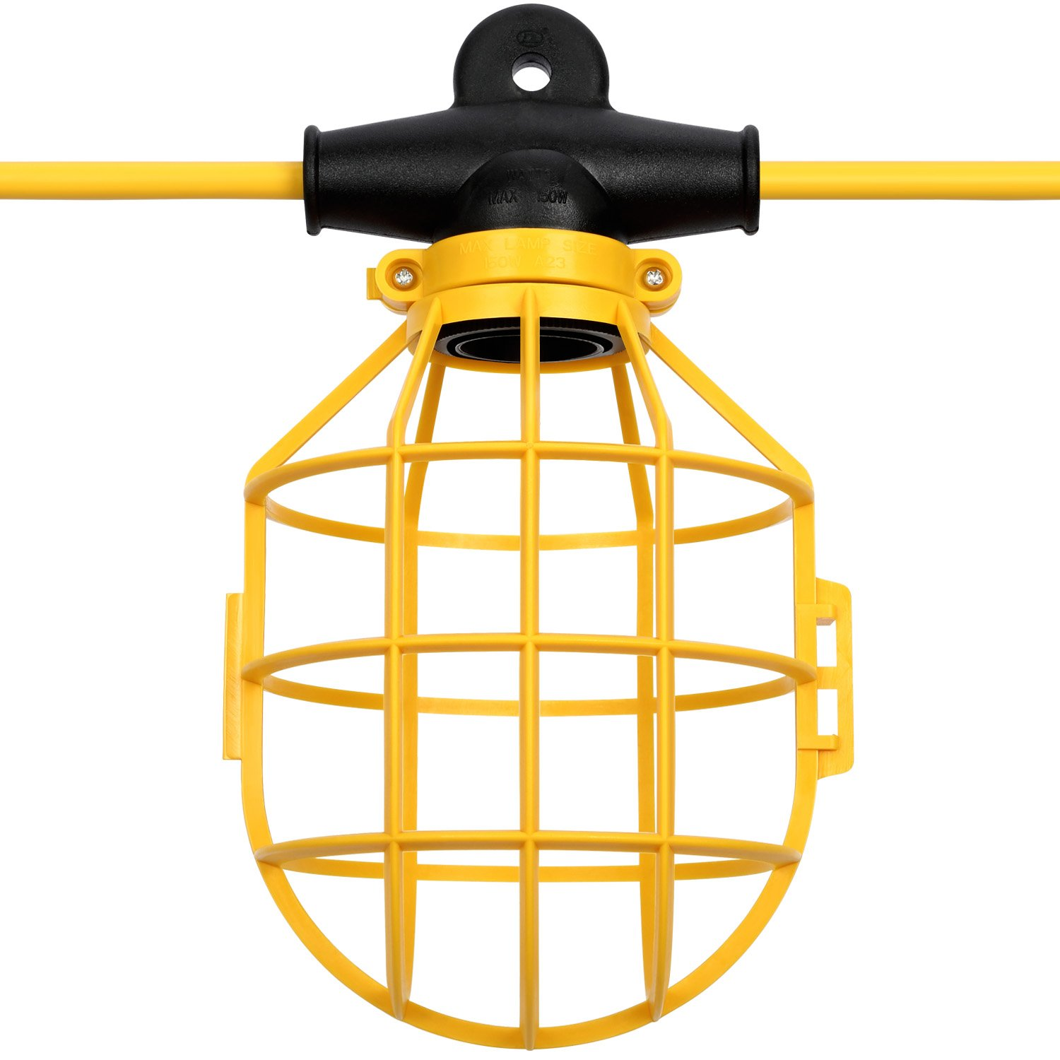 Miusco 50 Feet SJTW 14/2 5-Socket Commercial Duty Lamp Holder with Plastic Light Bulb Cage, Temporary String Work Light Guard, 120V 150W 12A by Miusco