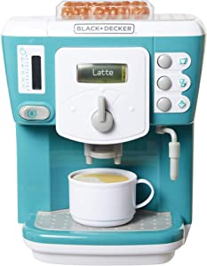 BLACK+DECKER Junior Coffee Maker Role Play Pretend Kitchen Appliance for Kids with Realistic Action, Light and Sound - Plus Toy Coffee Mug for Imaginary Brewing Fun