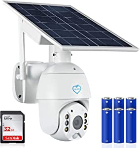 Live Well Secrets Solar Security Camera Outdoor Wireless WiFi - with 2 Way Audio, Motion Detection, Color Night Vision, 2.4G WiFi. 32 GB SD Card and 6 x 18650 Rechargeable Batteries Included