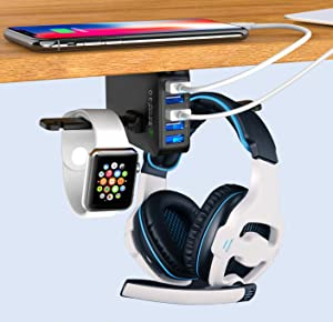 Headphone Stand with USB Charger QC 3.0, Ausfore Under Desk Headset Headphone Holder Hanger w/ 5 USB Ports for PC Computer Gaming Setup Desk Accessories, Office Gadgets