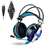 ACEPHA PC Gaming Headset, 7.1 Channel Virtual Surround Sound with Mic, USB Wired with On-Cable Controls, Soft Earmuffs with Noise Cancelling, Lightweight Design, Black&Blue