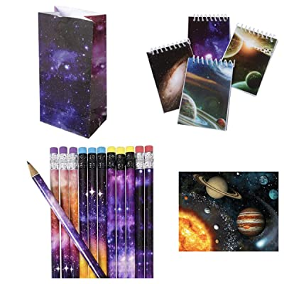 Just4fun - Cool Galaxy - Outer Space Party Favors for 12, 24 or 36 - Pencils - Mini NOTEBOOKS - Goody Bags & Stickers - Science - Planet Solar System Classroom Teacher Rewards Science (96 pc): Toys & Games