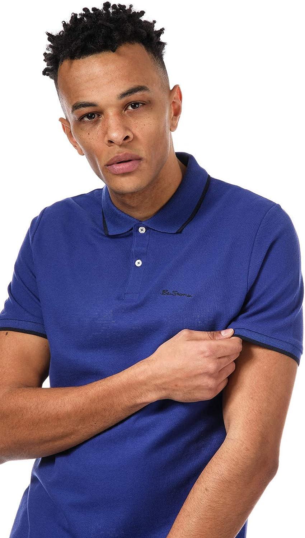 Mens Ben Sherman Romford Tipped Polo Shirt In Blue 2 Button Placket Short