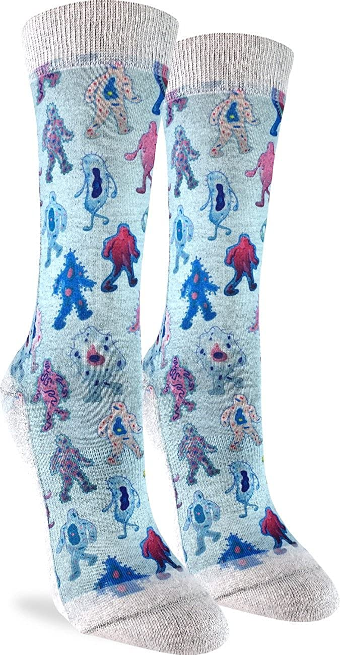 Good Luck Sock Women's Germs Crew Socks - Blue, Adult Shoe Size 5-9 5074