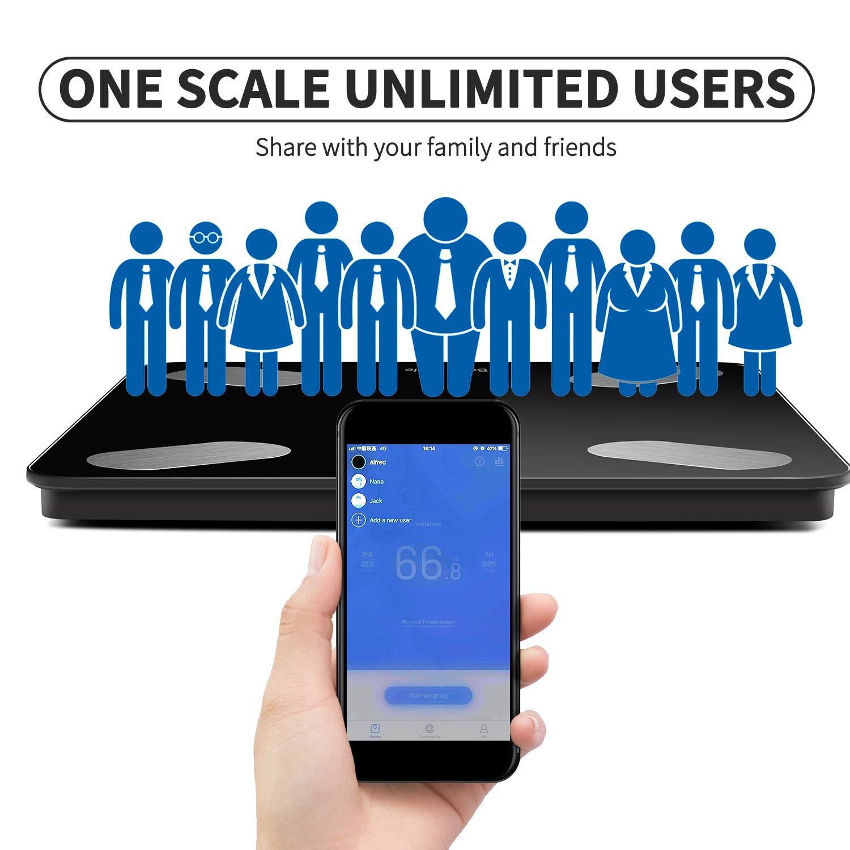 Bilancia Digitale Bluetooth, Monitor Composizione grassa corporea, App per telefono per peso corporeo, grasso, acqua, BMI, BMR, massa muscolare