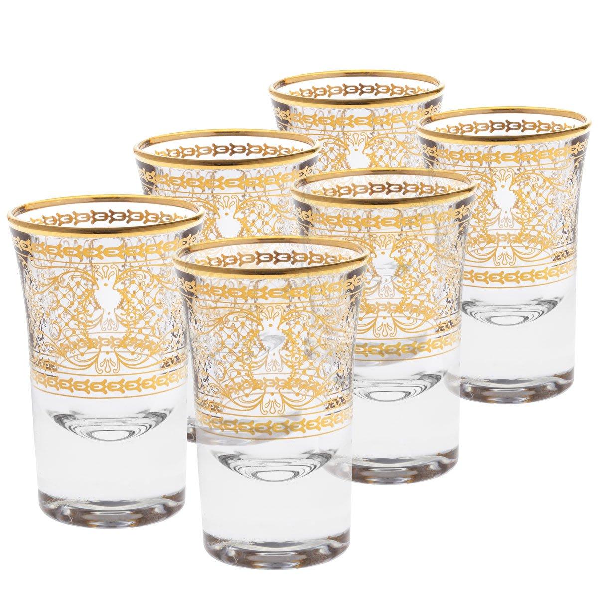 Rose's Glassware Fine Italian Liquor Cup Shotglass Set - 14 Karat GoldDesign - Set of 6 by Rose's Glassware (Image #1)