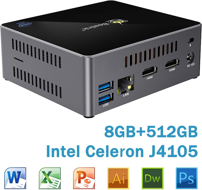 Mini PC Beelink X45 Windows 10 64-bit Intel Celeron J4105 with 8GB DDR4, 512GB SSD Mini Desktop Computer, Supports 4K@60Hz/ 2.5'' HDD & SSD/Dual HDMI/Dual WiFi/Gigabit Ethernet