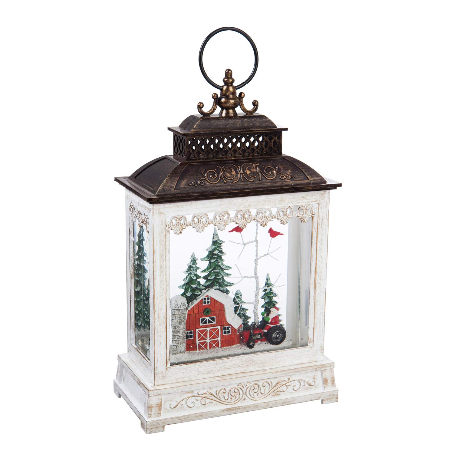 """Cypress Home Winter Barn LED Illuminated Water-Filled Musical Lantern with Spinning Action and Timer, 19.99"""" H"""