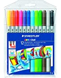 Staedtler Noris Club 320 NWP12 Fibre Tip Pen With 2 Tips, 12 Shades