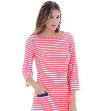 378d5abcaa Cabana Life Women s Three-Quarter Sleeve Cabana Shift Dress - Coral White  Stripe Print