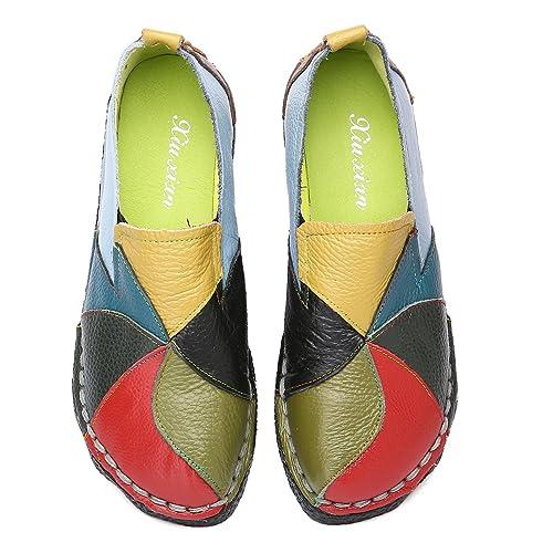 Socofy Mocasines Zapatos De Mujer De Cuero, Verano Primavera Plano Fabricados a Mano Zapatos con
