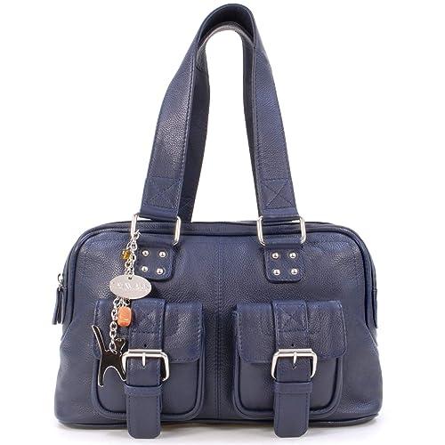 e7d317dde CATWALK COLLECTION - CAROLINE - Bolso - Cuero - Azul Marino: Amazon.es:  Zapatos y complementos