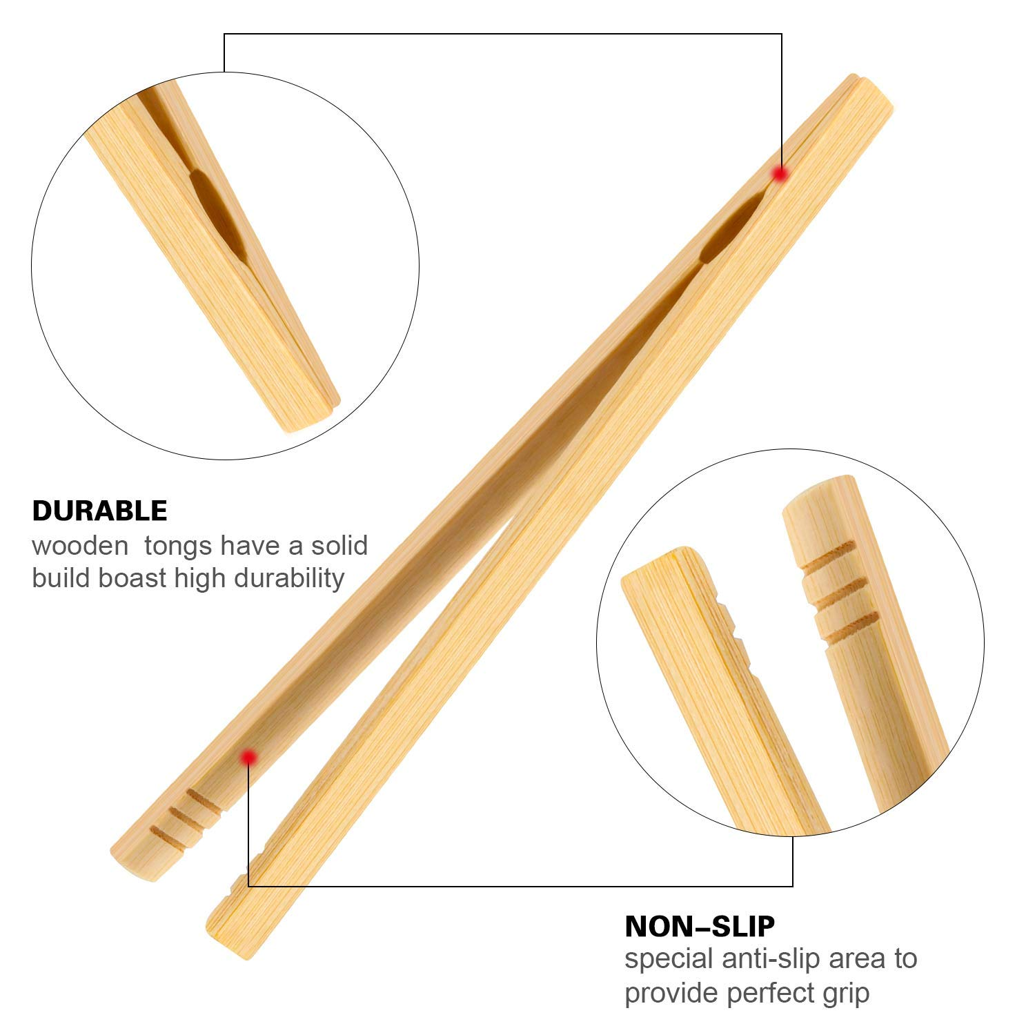 12 Pieces Bamboo Tongs Wood Toast Tongs Bamboo Kitchen Tongs for Cooking Bread Fruit Tea and Pickles 7 Inches