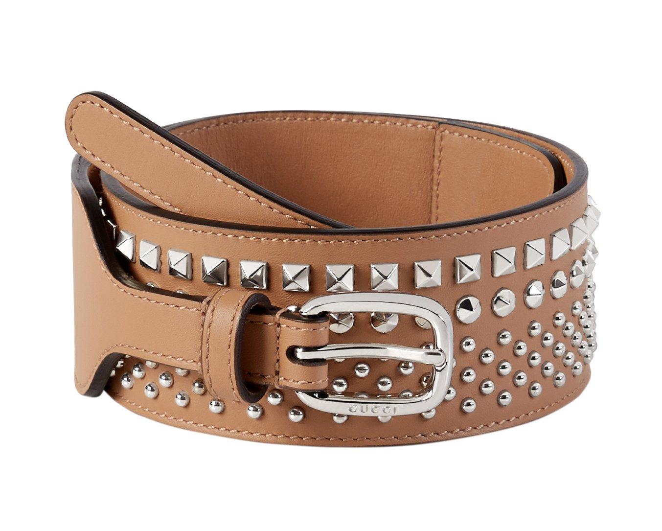 Gucci Women's Beige Studded Leather Wide Waist Belt, 34, Beige