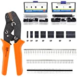 Glarks 486Pcs Wire Crimper Plier with Connector Set, SN-28B Ratchet Crimping Tool with 485Pcs 2.54mm 1 2 3 4 5 6 7 Pin Housin