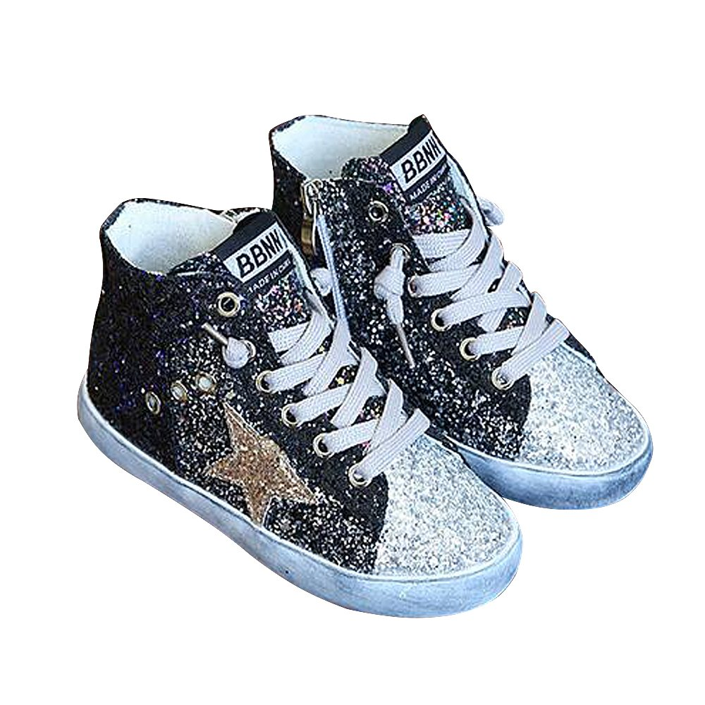 BININBOX Girls High-Top Sneakers Bling Sequins Casual Shoes Kids