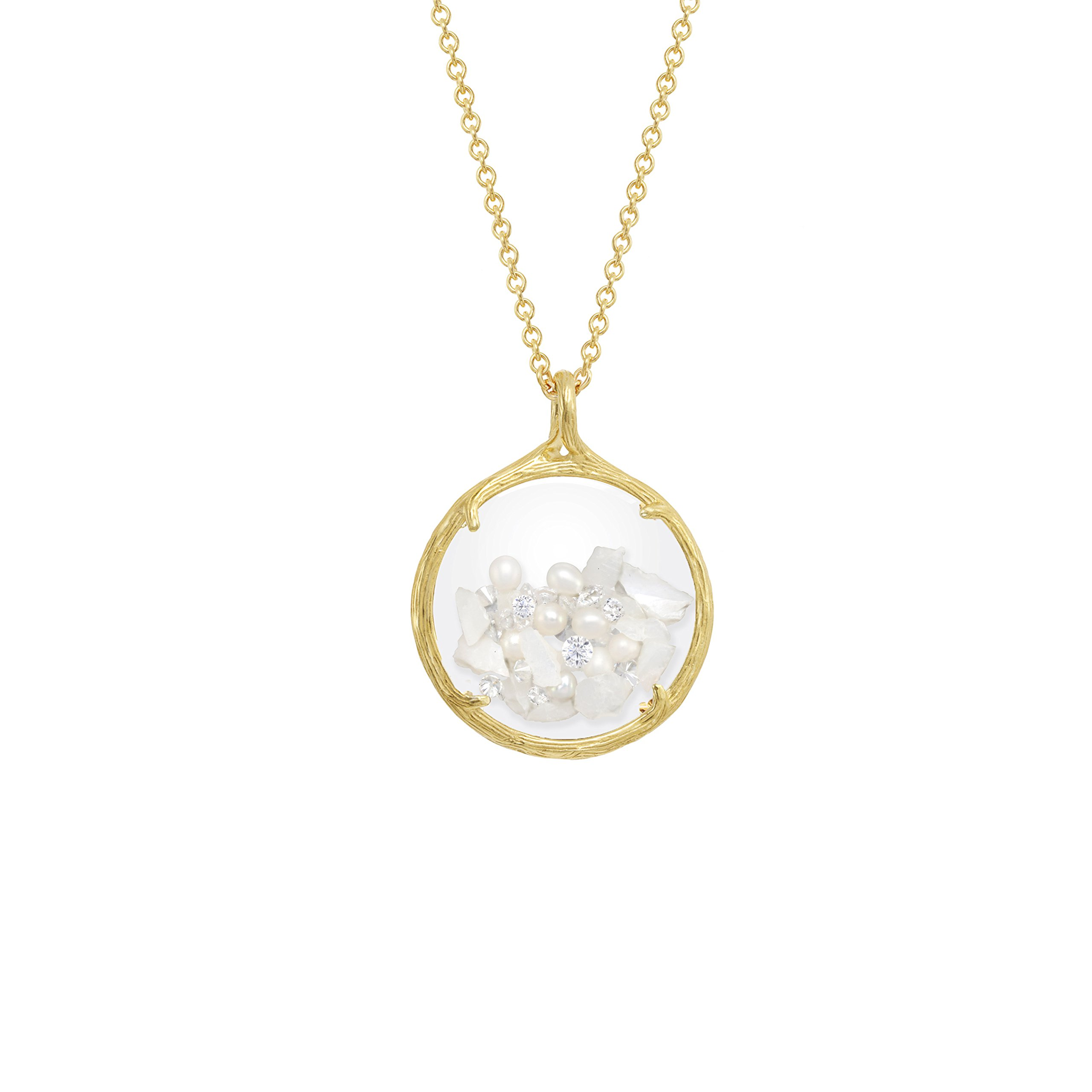 Birthstone shaker floating crystal stone Necklace (June Mother of Pearl) by Catherine Weitzman