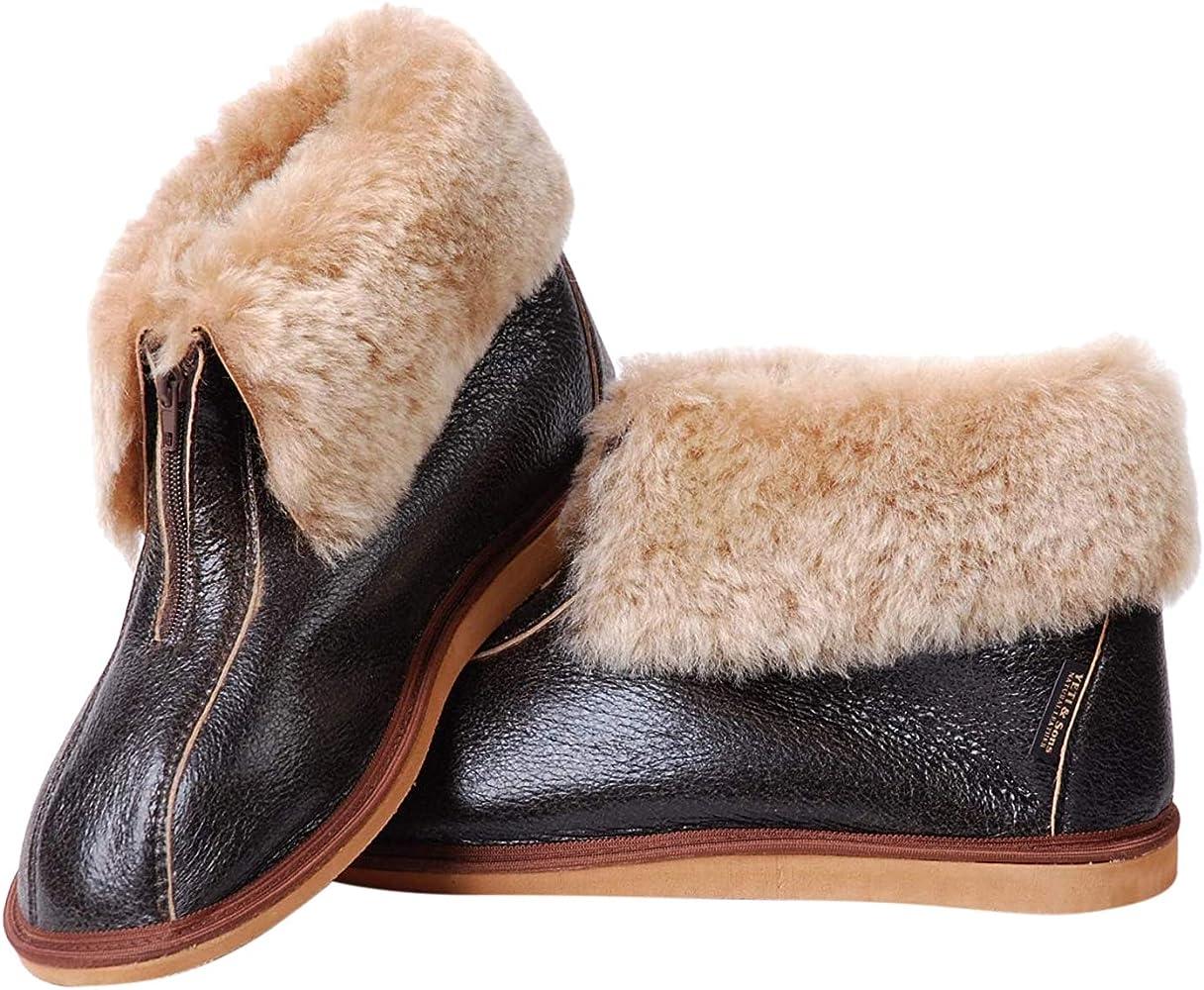 Yeti & Sons - Zapatillas para hombre 100% piel de oveja forradas con cremallera, en caja de regalo, color Marrón, talla 41 1/3 EU: Amazon.es: Zapatos y complementos