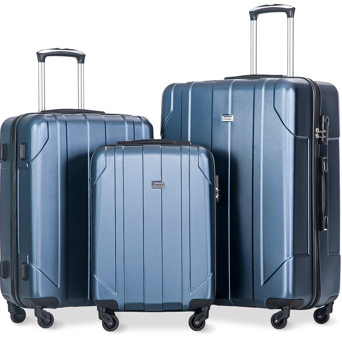 Merax 3 Piece P.E.T Luggage Set Eco-friendly Light Weight Travel Suitcase (Navy.)