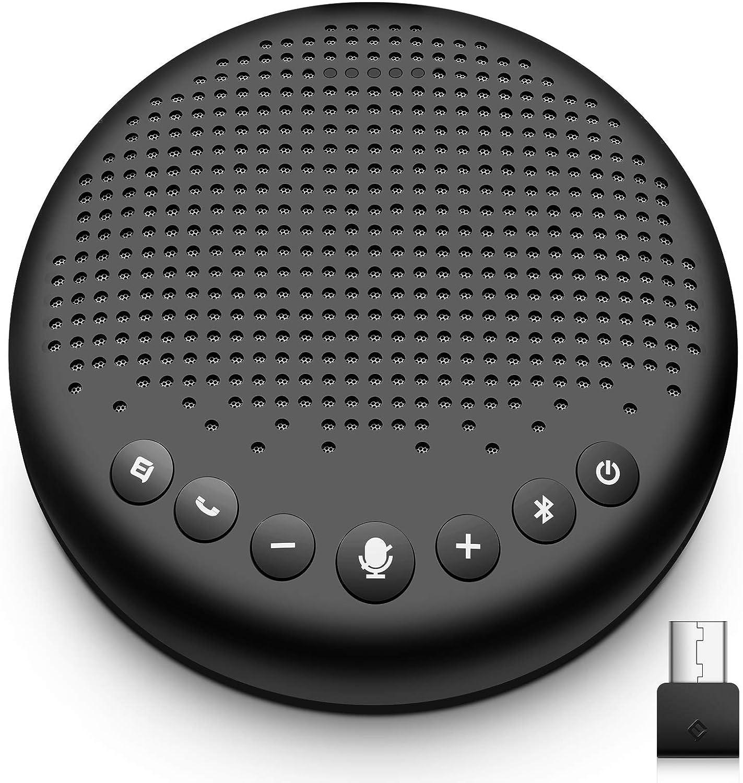 eMeet Altavoz de conferencias con Bluetooth – USB Manos Libres para 5 – 10 Personas, Speakerphone 360 ° reconocimiento de Voz, con dongle, para Zoom, Skype, comunicación VoIP, PC, etc.