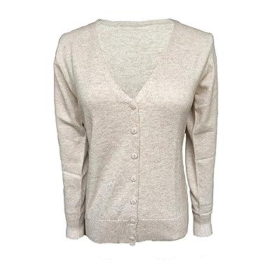 Nouveaux produits 65e3b e44ee Cardigan Pull Gilet Femme Basic Col V Classique en Laine Mélangé Fine Soft  Boutonné Uni Tailles S-XXXL