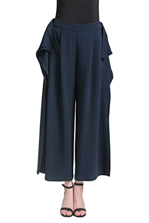 442bffa768cd Image Unavailable. Image not available for. Color  VOA Women s Navy Blue  Silk Ruffle Letter Wide Leg Pants Bottom KLH01201