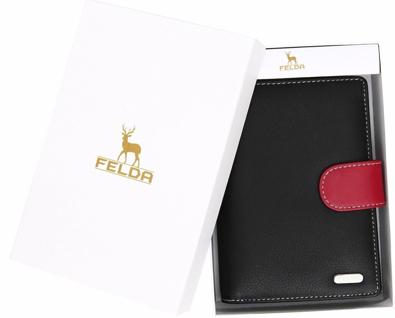 Felda ampio portafoglio donna RFID blu navy metallico multi 23 fessure per carte e scomparto monete