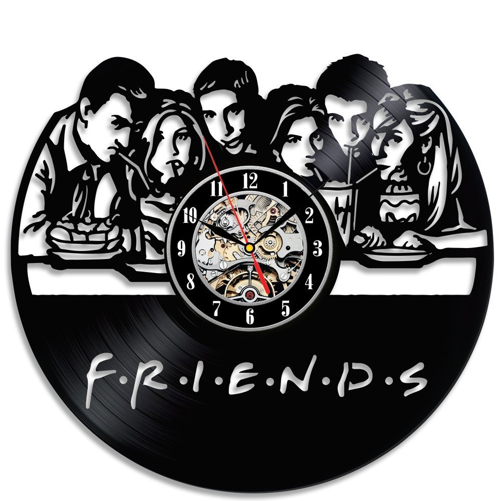 Friends Vinyl Record Wall Clock - 12 Inch Silent Comics Quartz Wall Clock - Movie Characters Non-ticking Digital Clocks for Kids, Home Decoration (Friends)