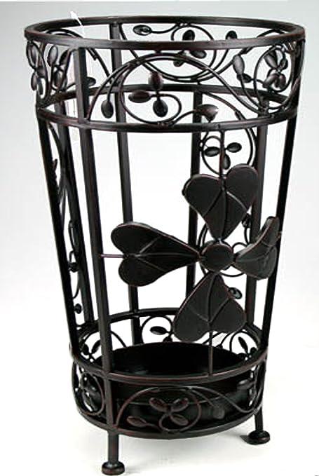 Portaombrelli in ferro lavorato colore panna con vaschetta scolapioggia
