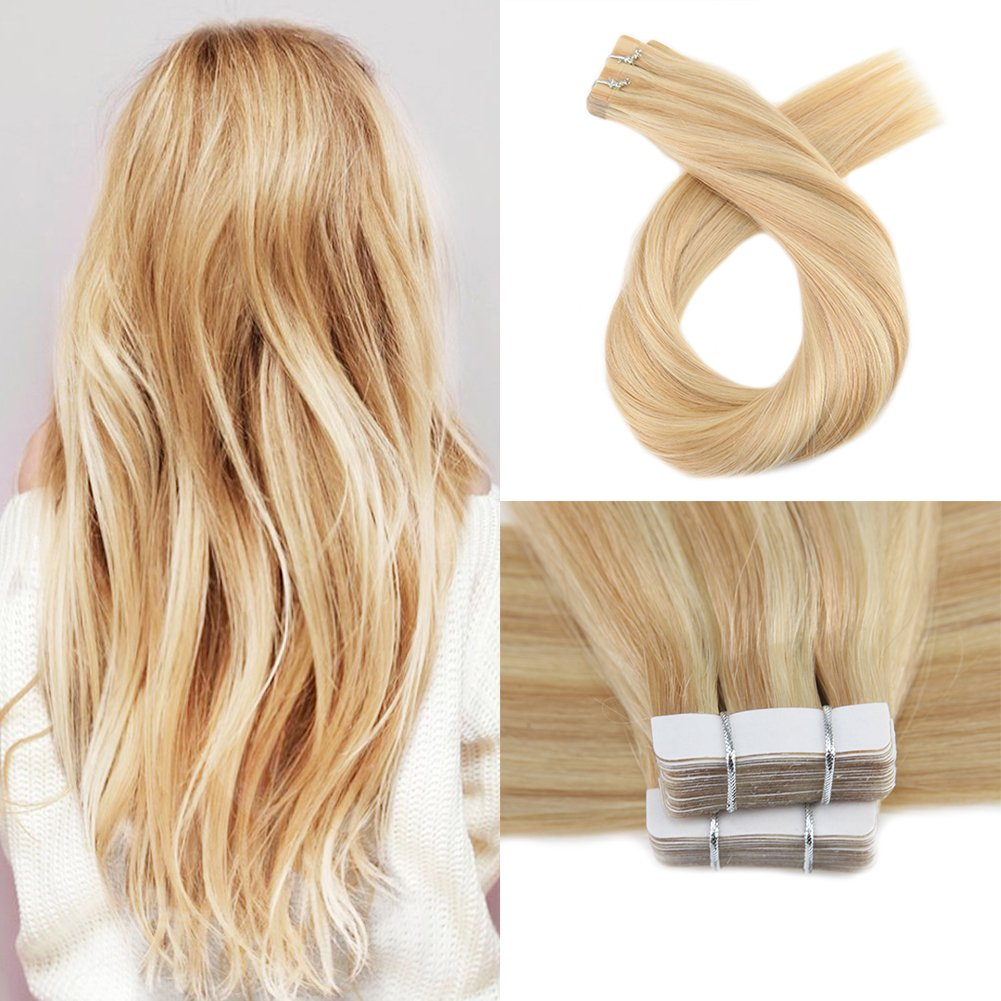 Amazon Moresoo 14 Inch Human Hair Remy Weft Tape On Weft Hair