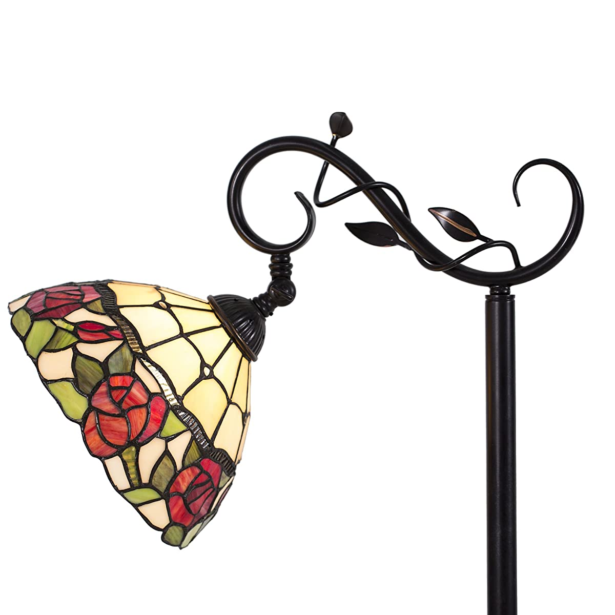 Cloud Mountain Tiffany Style Arched Floor Lamp Victorian Rose Stained Glass Lamp Home Decor Lighting