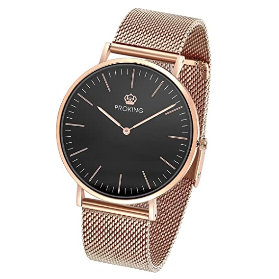 b9720f2e925e Proking Relojes Mujer De Pulsera Super Slim 6mm Correa De Oro Rosa Reloj De  Resistente Al