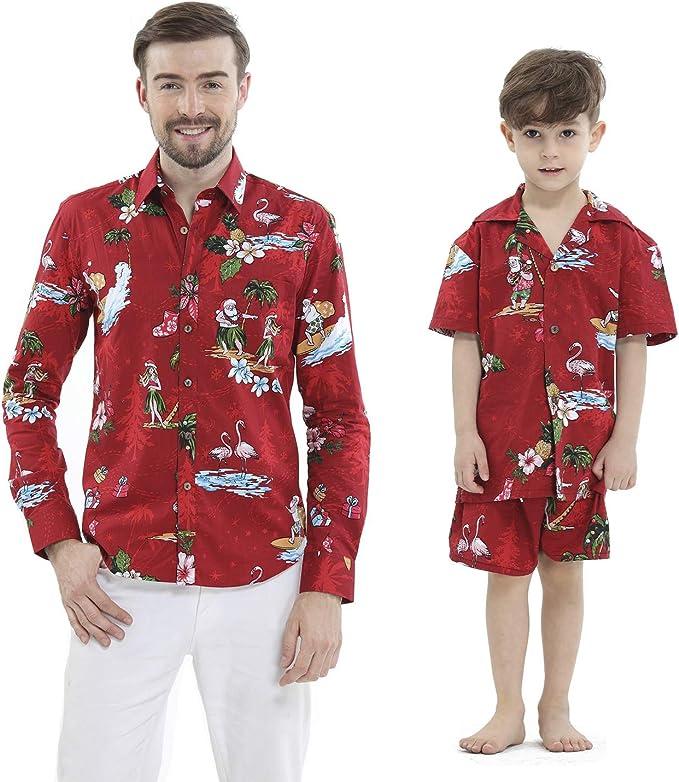 Equipo de Luau Hawaiian del Equipo del Juego de la Camisa Camisa de Hombre de la Camisa del Muchacho de los Cortocircuitos Rojo Santa Flamingo: Amazon.es: Ropa y accesorios