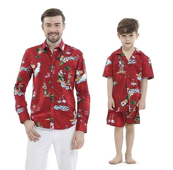 d973bcd5 Matching Father Son Hawaiian Luau Outfit Christmas Men Shirt Boy Shirt  Shorts Red Santa Flamingo: Amazon.co.uk: Clothing