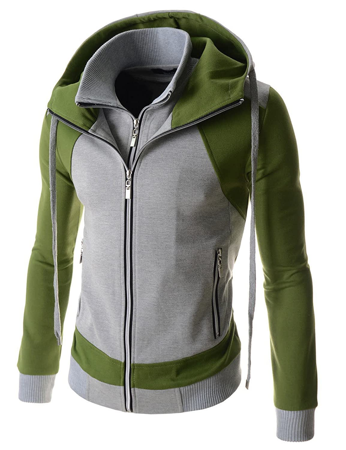 Mens jacket casual - Lcjb Thelees Mens Casual 2 Tone Plain Solid Double Zipper Hood Cotton Jacket