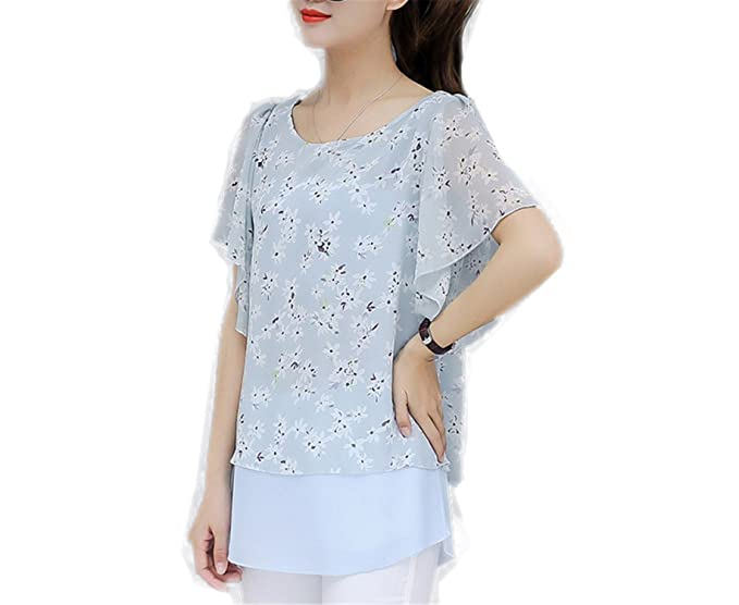OUXIANGJU New Women Blouse Summer Casual Plus Size Tops Ladies O-Neck Batwing Sleeve Chiffon