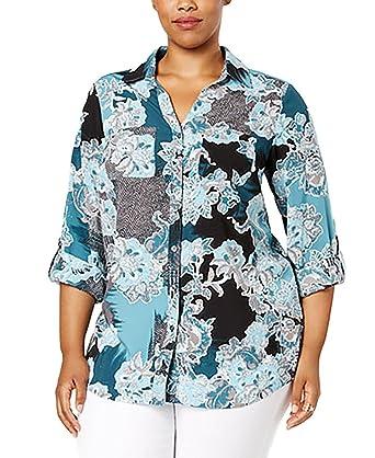 ec0f1c7b815 Charter Club Plus Size Printed Utility Shirt (0X-Large) at Amazon ...