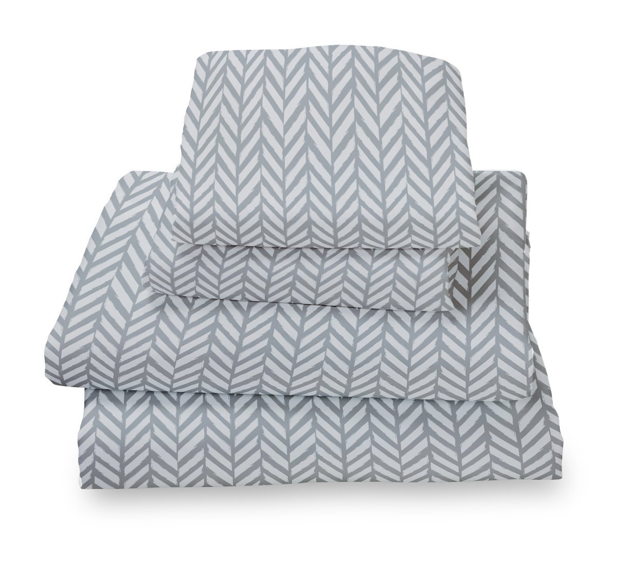 Where The Polka Dots Roam XL Twin Sheet Set Blue Gray Herringbone - Double Brushed Ultra Microfiber Luxury Bedding Set
