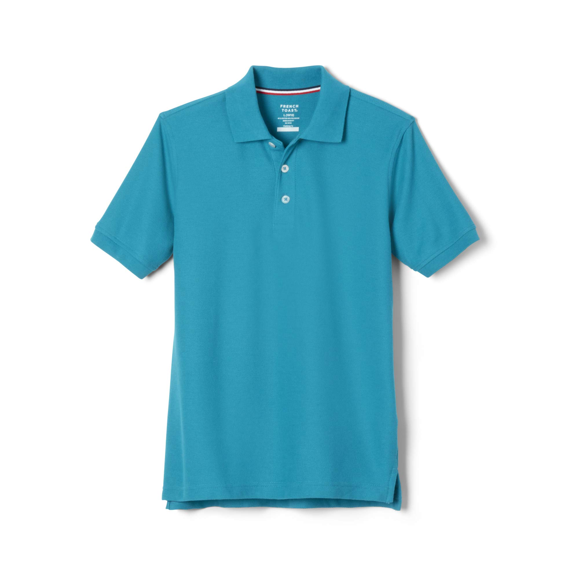 French Toast Boys' Big Short Sleeve Pique Polo Shirt (Standard & Husky), Teal, L (10/12)