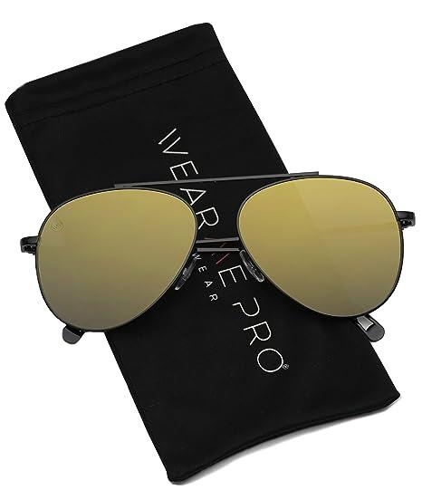 d16c7f07a28da WearMe Pro - Premium Flat Lens Metal Frame Modern Design Mens Womens  Aviator Sunglasses