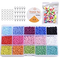 KAIMIRUI 7500 Cuentas de Colores 3mm Mini cuentas de cristal para los niños DIY Bracelet Arte y joyería-Making, cadena…