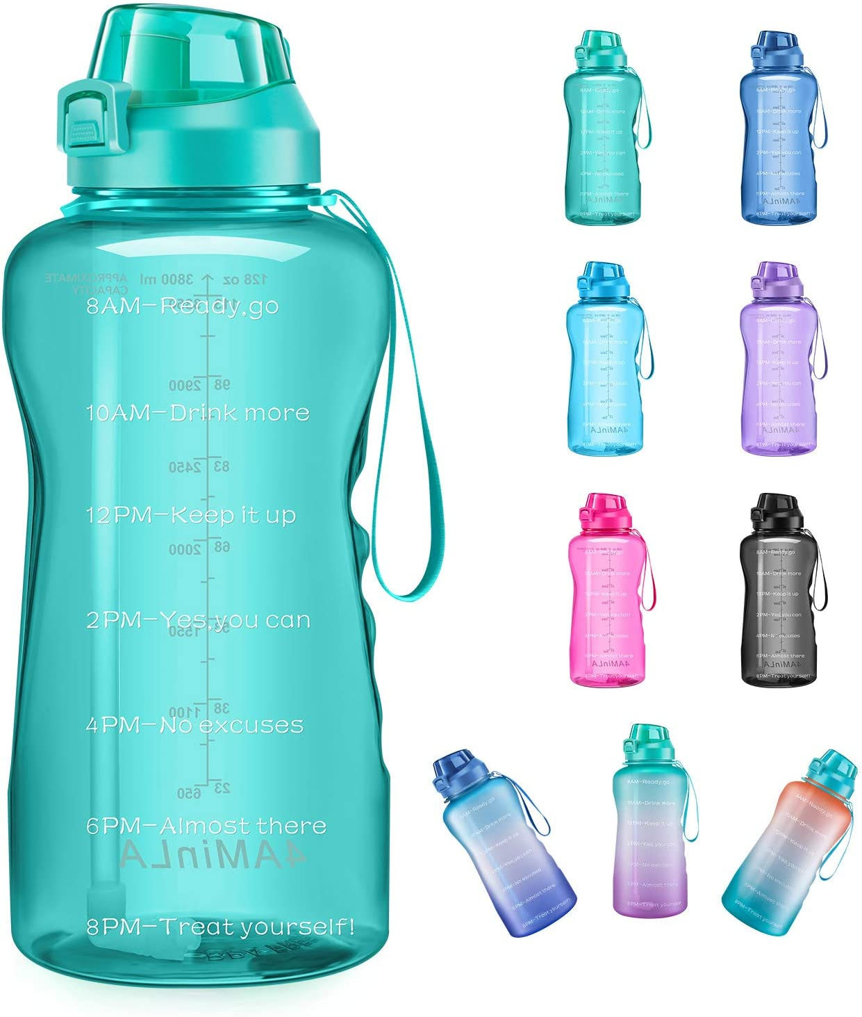 4aminla Motivational Water Bottle Gallon Jug With Straw And Time Marker Large Capacity Leakproof Bpa Free Fitness Sports Water Bottle Green Home Kitchen