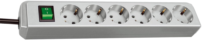 Brennenstuhl Eco-Line 6-fach Steckdosenleiste (Steckerleiste mit Kindersicherung, Schalter und 1,5 m Kabel) weiß 1159520015