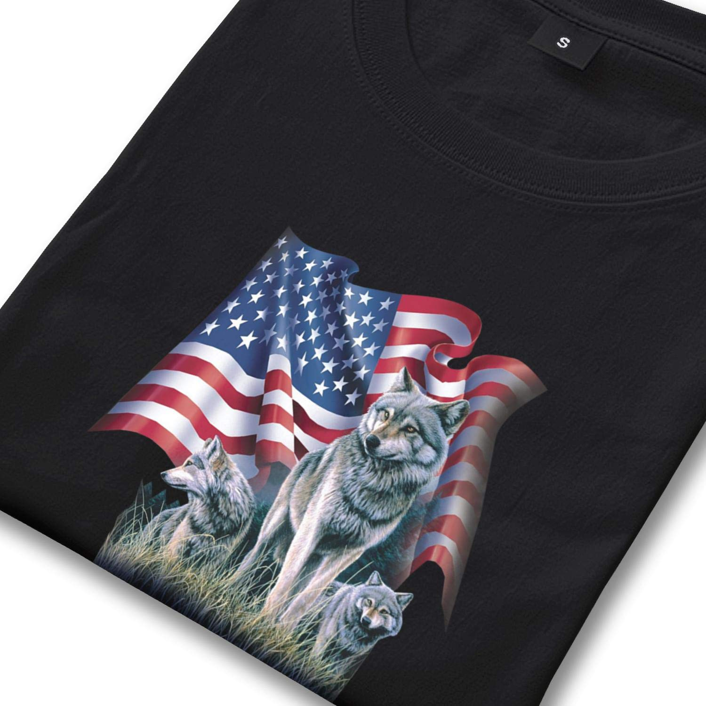 T-Shirts Mens Crew Neck Short Sleeve Wolf Flag American Flag Tee Shirt Comfort Soft Cotton Shirts Cool Tops