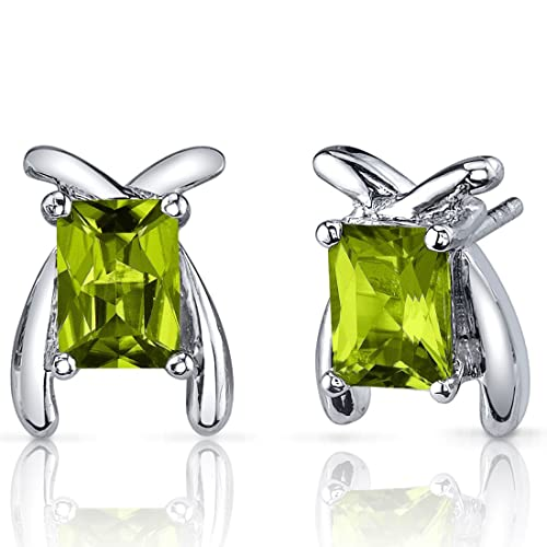 Striking Color 2.00 Carats Peridot Radiant Cut Earrings in Sterling Silver Rhodium Nickel Finish