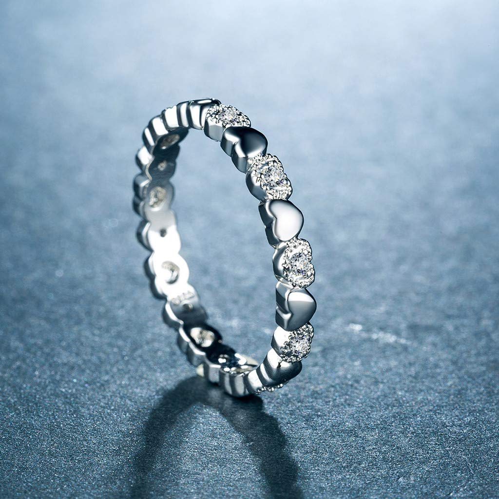 BNisBM 925 Sterling Silver Ring Knot Heart High Polish Tarnish Resistant Eternity Wedding Band Stackable Ring