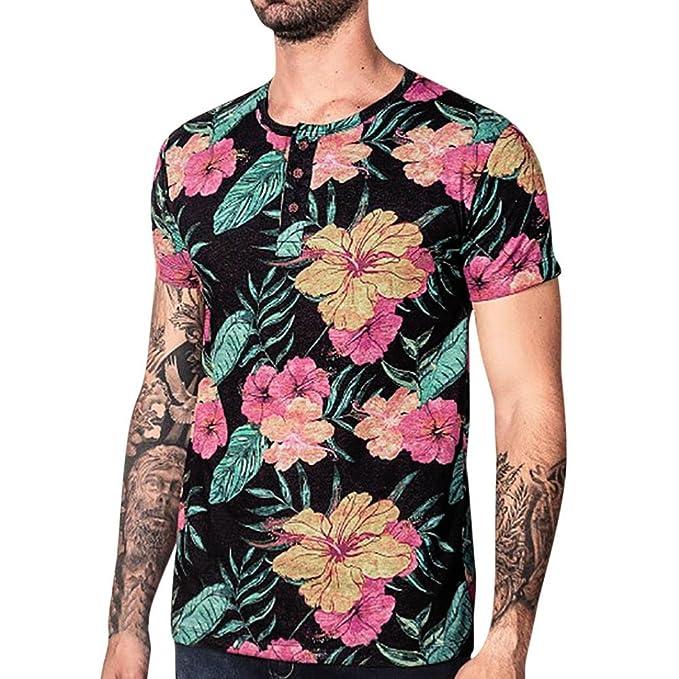 ALIKEEY Top De Manga Corta Estampado Hombre Blusa Superior con Floral Casual para Vestir Fiesta Gemelos