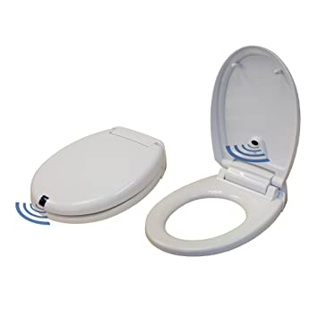 Soft Touch Toilet Seat. iTouchless Touch Free Sensor Controlled Automatic Toilet Seat  Round Model Off White Amazon com