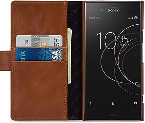 StilGut Housse pour Sony Xperia XZ1 Porte-Cartes Talis en Cuir véritable à Ouverture latérale et Languette magnétique, Cognac